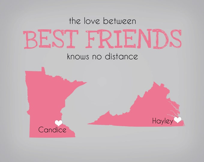 Best Friend Gifts, Birthday Gift For Best Friends, BFF, Personalized State Maps U.S. Country World Pink, Blush, Quote, Going Away Present