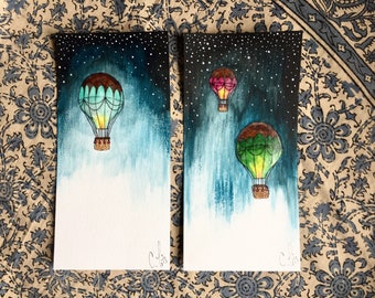 2 Hot air Balloon in the night / Hand painted / Postcard
