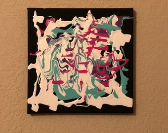 abstract painting on black canvas