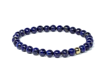 Blue golden lapis gemstone bracelet, Men's natural mineral beaded bracelet, Blue beads bracelet for him, Gemstone bracelet