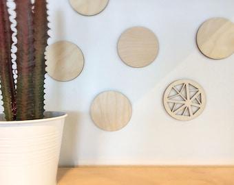 Circles - Wood Wall Art - Home Decor - Decorative Accessories - 10-piece Set - Scandinavian Style - MIXO Collection
