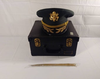 Vintage Military Captains Officers Art Caps Hat with Military Luxenberg Hat Box