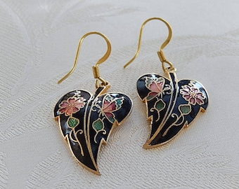 Cloisonne Earrings, Leaf Earrings, Floral Earrings, Vintage, Dangly,  Gift for Her