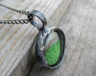 necklace with small green glass marbles,  terrarium necklace, handmade