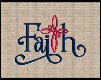 Word Faith with Cross T Machine Embroidery Design Christian Embroidery Design script font faith