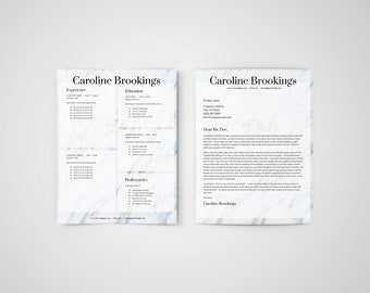 MARBLE | Professional resume template | CV + Cover letter | 8.5x11 inches | Editable Word doc | Instant digital download | Mac or PC