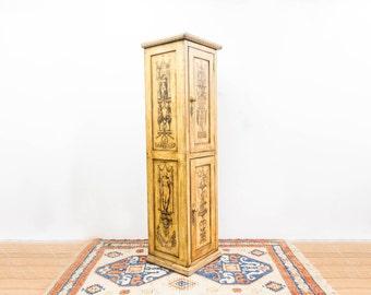 Tall Narrow Painted Decoupage Cupboard