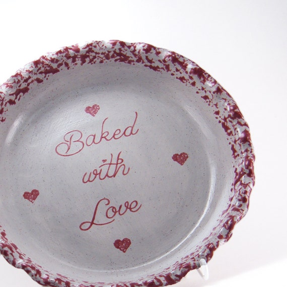 & Country Hearts Pie Dish Personalized Pie Plate Gray