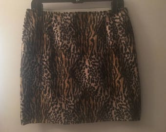 Retro faux fur leopard skirt