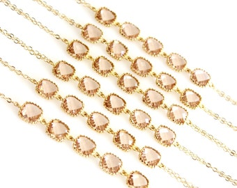 PEACH Wedding Bracelet, Bridal Bridesmaid Wedding Jewelry, Champagne Chain Peach Gold Friendship Bracelet, Bridal Wedding Christmas GIFT