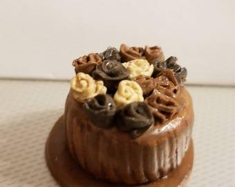 "Dollhouse miniature Chocolate rose cake 1"" scale"