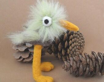 Fuzzy Bird Needle Felted Soft Sculpture, Figurine, Miniature, Toy