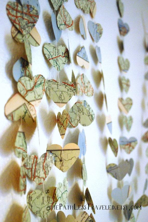 Vintage Map Hearts Garland  - 10, 15 or 30 feet long