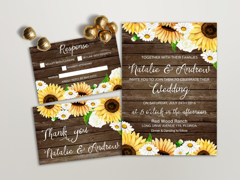 Country Wedding Invitations: Rustic Wedding Invitation Printable Sunflower Wedding