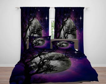 Purple Night Comforter or  Duvet Cover, Twin  Full Queen King,  Full Moon  , Window Curtains