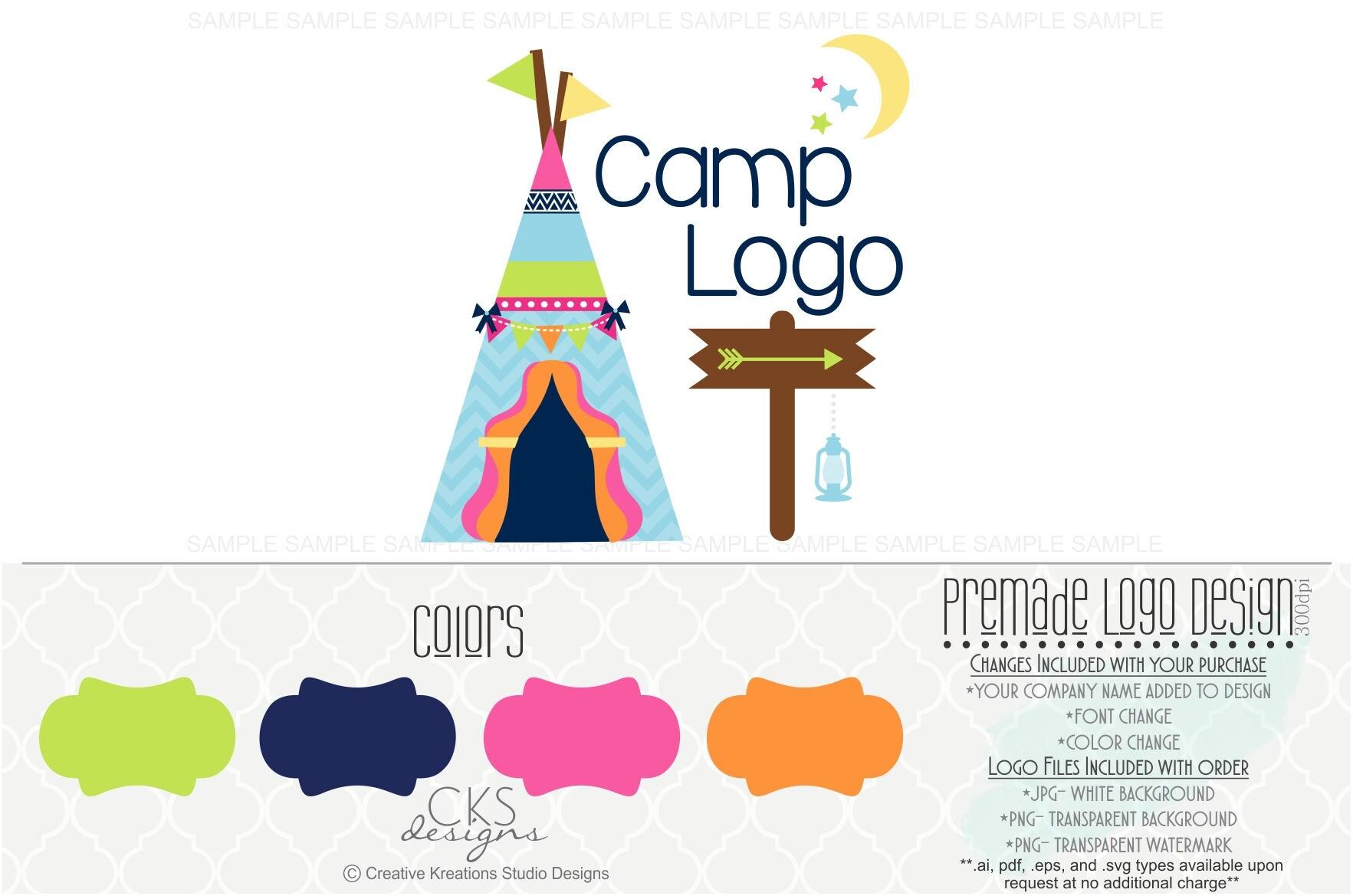 Premade Camp Logo Camping Summer Trip Happy Camper