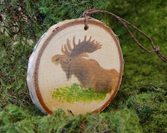 moose ornament, birch ornament, Christmas ornament, Christmas gift, rustic ornament, moose painting, birch tree ornament, wall hanging