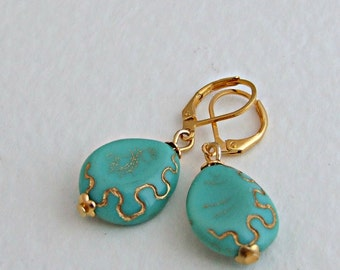 Turquoise and Gold Earrings .. blue gold earrings, blue dangle earrings, jewellery, aqua earrings, teardrop earrings