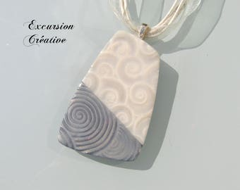 """""""Two-tone"""" gray and white polymer clay beaded necklace"""