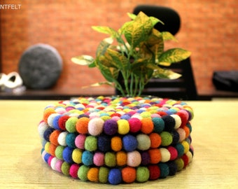 20cm  Rainbow Trivet (10mm ball) - Set of 4- Table Trivet-Home Decor- Durable, Light and Bright- From Nepal