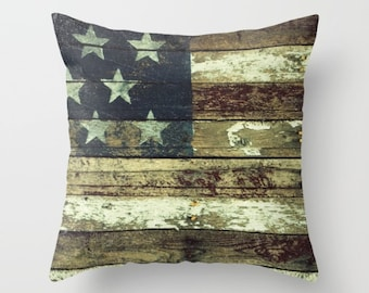 4th of July, Throw Pillow Case, Home Decor, O Beautiful, Old Glory, Vintage, Primitive, Americana, American Flag,  Photography by RDelean