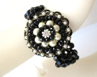 Wide Band Black Bracelet, Black Beaded Stretchy Bracelet, Statement Bracelet, Beadwoven Bracelet,  Bridesmaid Bracelet,Wedding Jewelry, cuff