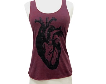 Anatomical Heart Tank Top -Tri-Blend Tank - Available in sizes S, M, L, XL