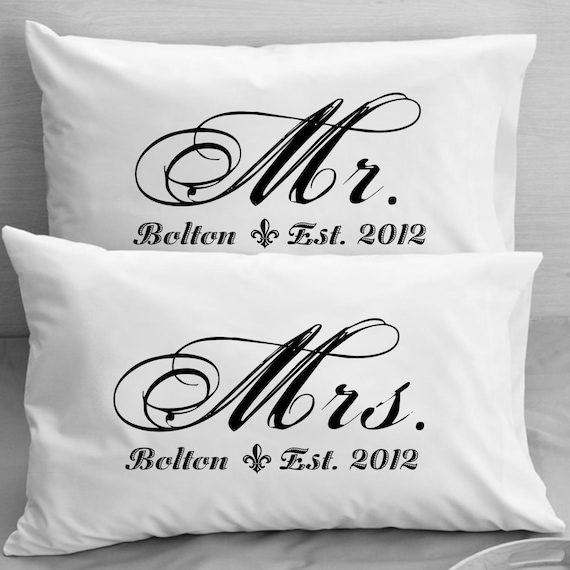 Wedding Gifts Mr And Mrs: Mr And Mrs Pillowcases Custom Personalized Wife Husband