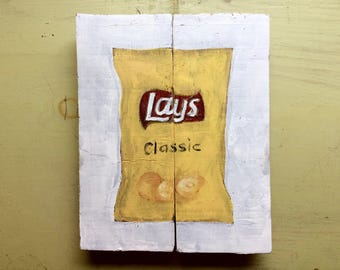 Lays Potato Chips Bag on  Reclaimed  Wood Kitchen Wall Art Potato Chip Oil Painting Food Art