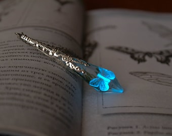 Glowing butterfly victorian pendant necklace, Butterfly necklace, Victorian jewelry, Glowing jewelry