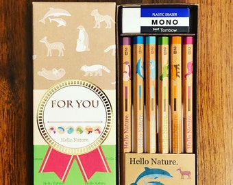 Tombow Hello Nature 12-pack of Natural 2B Graphite Pencils Gift Box