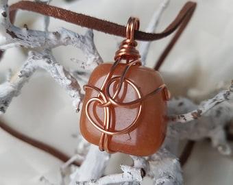 Chain Wire wrapped Orange aventurine