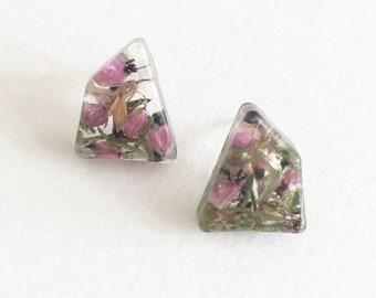 Real Heather Stud Earrings-Real flower earrings-pressed flower earrings-floral jewellery-real flower jewelry-gift for her