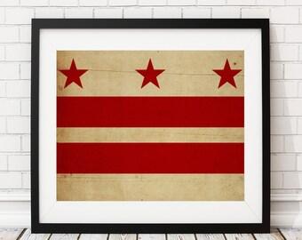 Washington DC Flag Art, Washington DC Flag Print, Flag Poster, DC State Flag, Flag Painting, Housewarming Gift, Washington dc Art