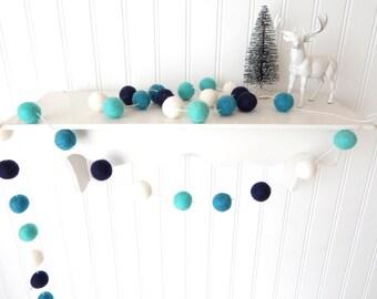 Christmas Garland, Blue Christmas Felt Ball Garland, Pom Pom Garland, Christmas Decor, Christmas Tree Garland, Mantel Decor, Holiday Decor
