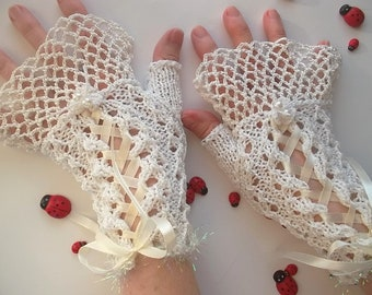 Crocheted Cotton Gloves L Ready To Ship Victorian Fingerless Summer Women Wedding Lace Evening Hand Knitted Bridal Opera White Corset B60