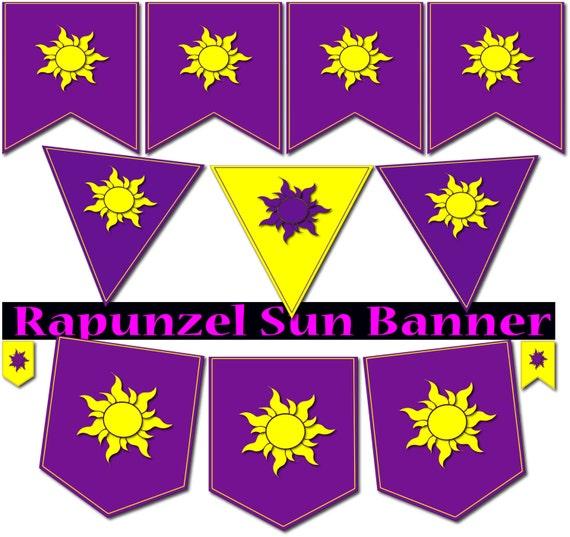 Rapunzel banner Rapunzel flags Rapunzel party printable Rapunzel