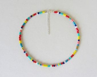 Bead choker hippie boho Multi-Colored Single Strand multi colored beads Colorful Necklace rainbow beaded choker colorful choker