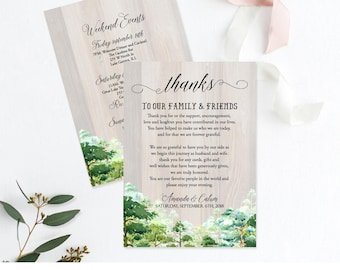 Forest Wooden Welcome, Forest Welcome Template, Greenery Guest Itinerary, Greenery Printable Thank You Letter Template Wedding Itinerary L1