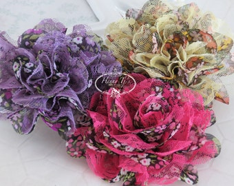 "NEW : Set of Three 3.5"" Shabby Chic Frayed Chiffon Mesh and Lace Rose Fabric Flower - Vintage Floral Patterned"