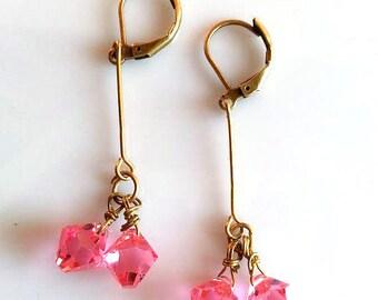 Pink and Gold Earrings | Pink Crystal Earrings | Pink Drop Earrings | French Earrings | Antoinette Earrings | Dainty Earrings | Dangle