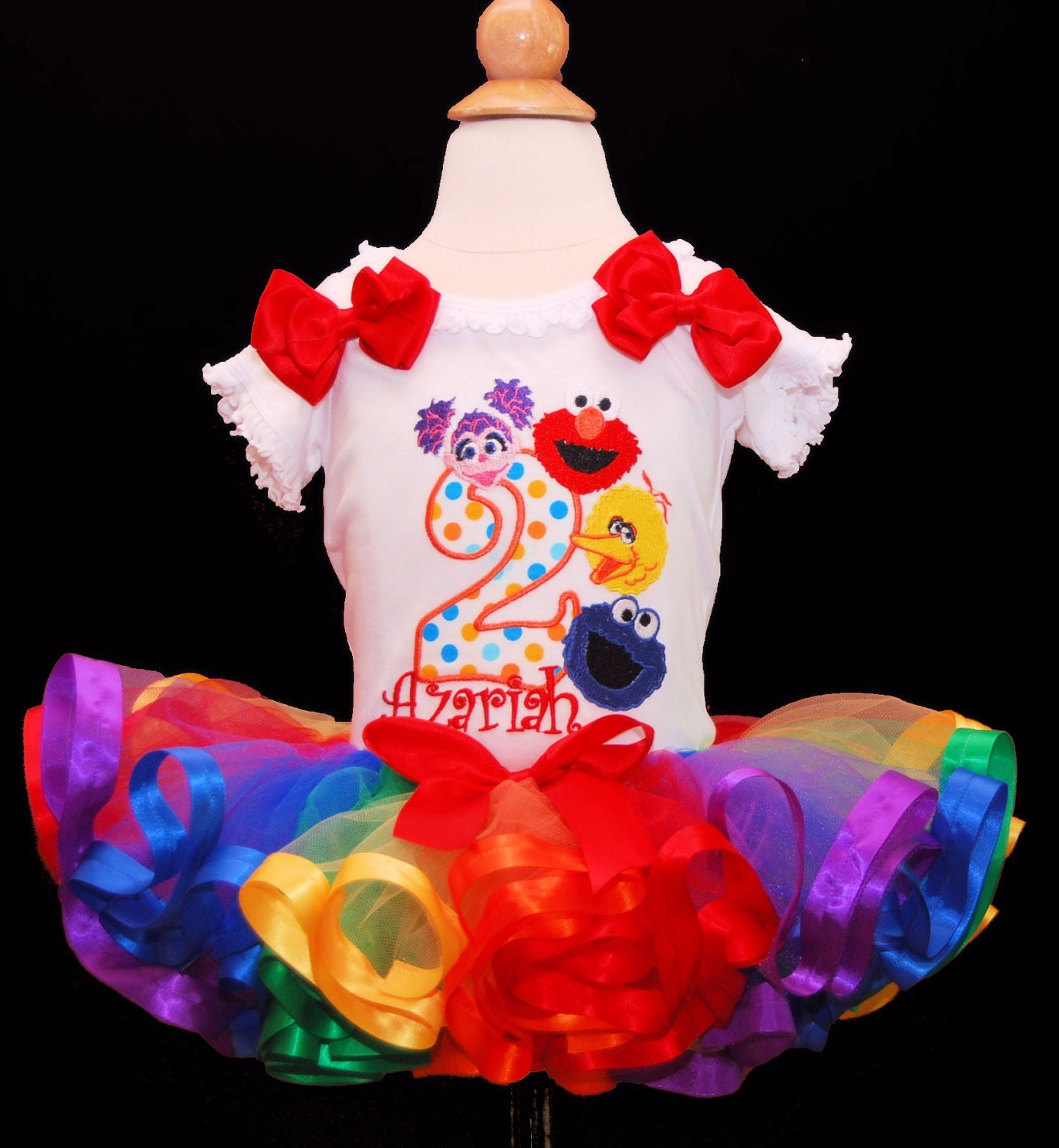 Elmo Birthday Outfit 2nd Tutu Sesame Street Ribbon Trimmed Rainbow And Friends