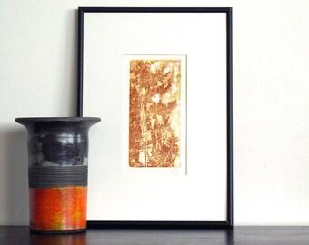 Original Etching Print PINE BRANCH GARDEN Botanical Leaf Printmaking Wall Decor Fine Art Etching Print Hand Pulled Print 10x6