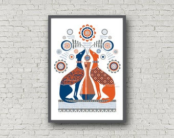 Red and Blue Whippet limited edition giclée print A4