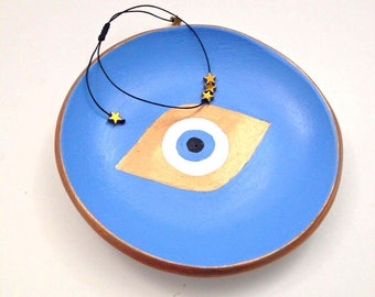 Jewelry dish, Jewelry dish with evil eye, Clay dish with bronze evil eye, Clay jewelry holder, Clay ring holder, Ring dish, Trinket dish