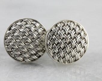 Sterling Silver Cufflinks with Woven Pattern, Simple Round Cufflinks 0RNJ66-R