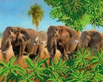 Elephants bead embroidery kit, embroidered beaded painting set, DIY wall decor, needlework beadwork needlepoint sewing hobby