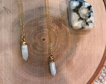 Petite Moonstone pendant on 14k gold filled chain, moonstone, gold electroplated