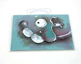 Blue Monster original ACEO drawing