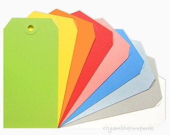 """50 No. 5 Shipping Media Tags """"Large"""" (4 3/4 x 2 3/8) with Matching Eyelets - Choose your colors!"""